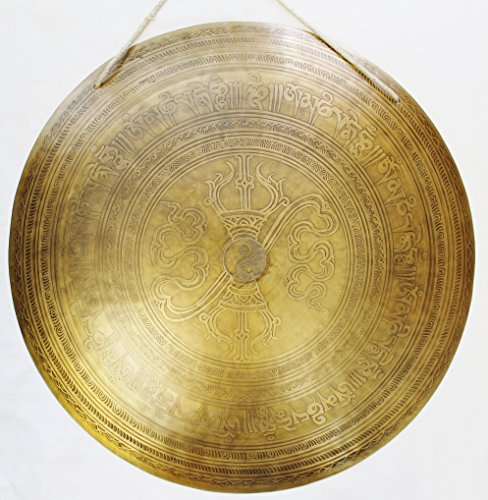 F607 21.25″ Very Artistic Tibetan Temple Disc Gong Hand Made in Nepal