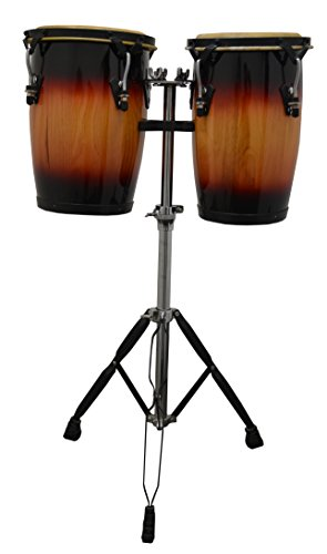 De Rosa 9″ and 10″ Sunburst Bongo Conga Set with Adjustable Stand