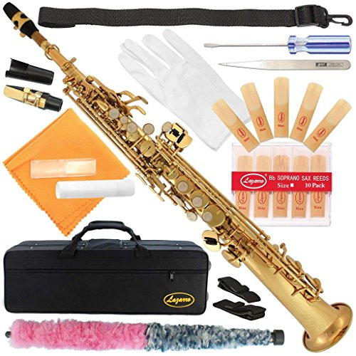 300-LQ-Gold/Lacquer Bb STRAIGHT SOPRANO Saxophone Sax Lazarro+11 Reeds,Care Kit~22 COLORS~SILVER or GOLD KEYS~CHOOSE YOURS !