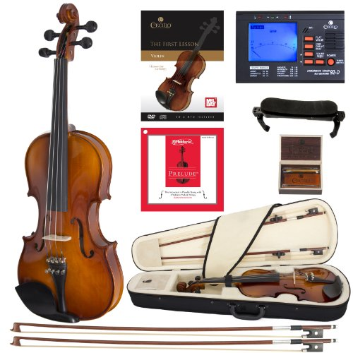 Cecilio CVN-300 Solidwood Ebony Fitted Violin with D'Addario Prelude Strings, Size 3/4