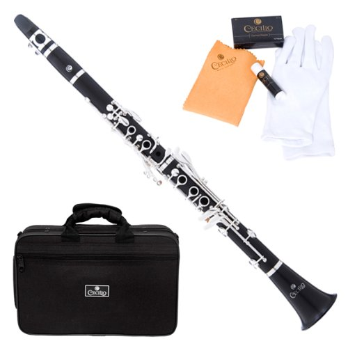 Cecilio CT-480 4Series Intermediate Bb Clarinet with Case, Mouthpiece, 10 Reeds and Accessories – Solid Ebony Wood