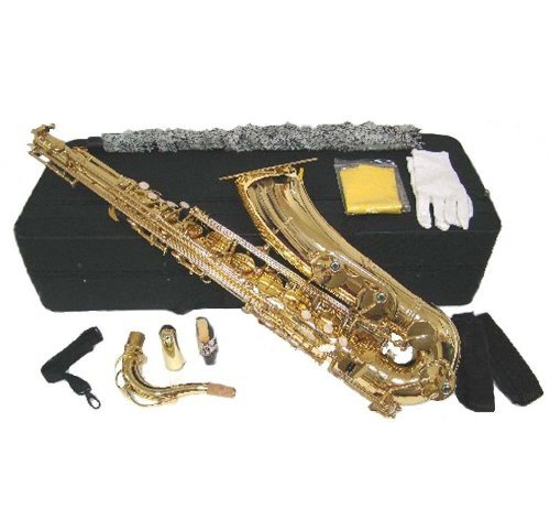 Merano B Flat Gold Tenor Saxophone with Case,Reed,Mouth Piece,Screw Driver,Nipper. A pair of gloves, Soft Cleaning Cloth.