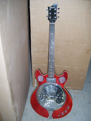 Resonator Electric Guitar, Red, NEW