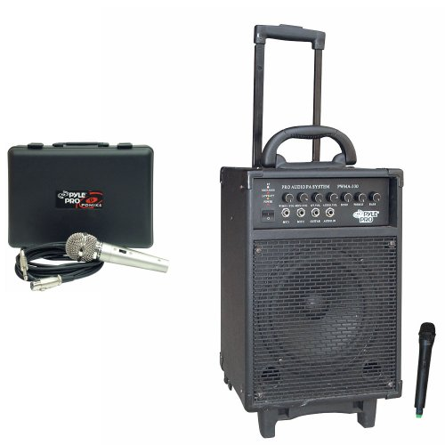 Pyle Speaker and Mic System Package for your Studio, Concert, Stage, Performance, Bar, Home, etc. – PWMA330 300 Watt VHF Wireless Battery Powered PA System W/Echo – PDMIK4 Dynamic Microphone with Carry Case