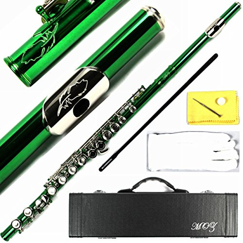 Engraved Design Italian Pads 16 Keys Close Hole C Flute Green Color