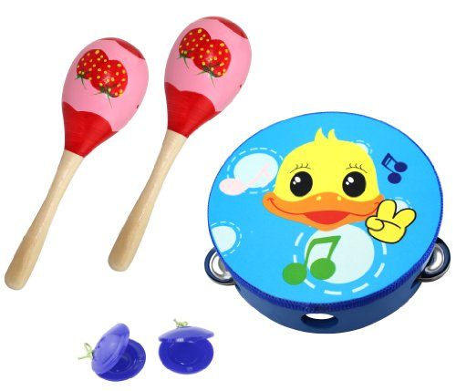 3 Piece Kids Toy Play Set with Tambourine, Maracas, and Castanets – Duck