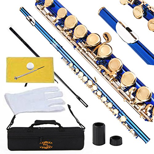 Glory Closed Hole C Flute with Case, Tuning Rod and Cloth,joint Grease and Gloves Blue/gold Keys–more Colors Available,click to See More Colors