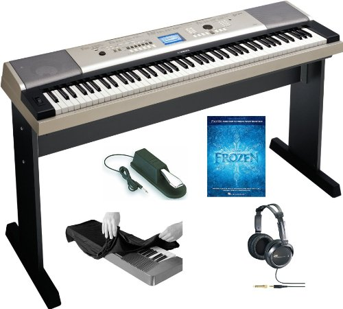Yamaha YPG-535 88-key Portable USB Keyboard With Stereo Headphones, Keyboard Dust Cover, Sustain Pedal and Frozen: Music Book from the Motion Picture Soundtrack Paperback