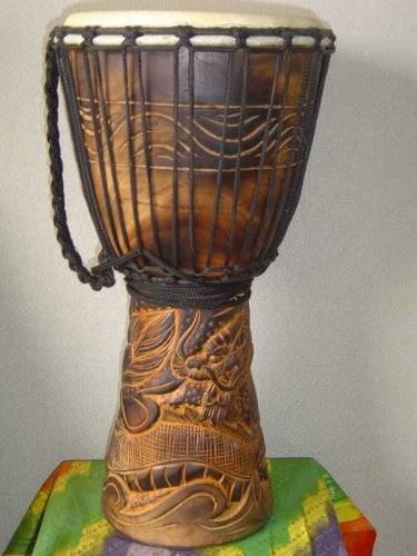 20″ Handmade Deep Carved Djembe Bongo Drum DRAGONS with Free Cover, Model # 50M21