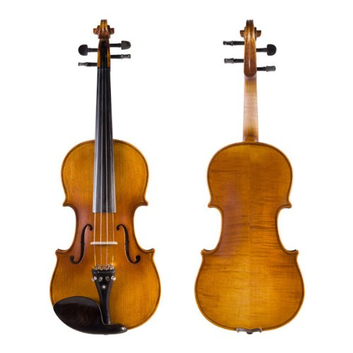 Cecilio 4/4 CVN-500 Ebony Fitted Solid Wood Flamed Violin with Antique Finish