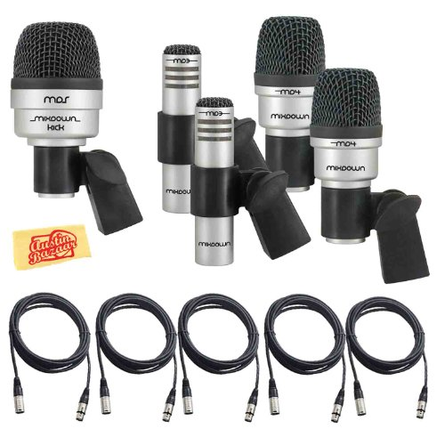 CAD Audio Mix Down DRUM 5 Microphone Set for Drums with 2 Tom/Snare Mics, 1 Kick Mic, 2 Overhead Condenser Mics, 5 Mic Cables, and Polishing Cloth