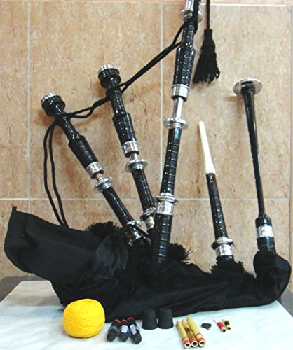 Scottish Bagpipes Highland with Silver Mount drone reed by Musicalitem