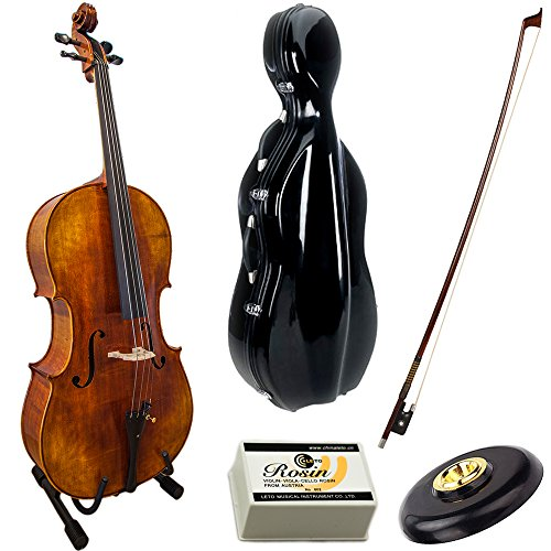 Paititi Solid Wood Ebony Fitted 4/4 Professional Acoustic Cello Kit with Durable Fiber Glass Case, Bow and Rosin
