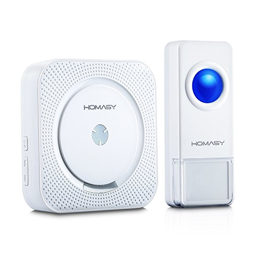 Homasy Wireless Doorbell with 1000-feet, 52 Chimes, IP55 Waterproof Transmitter, 4-Level Volume, No Batteries Required for Receiver