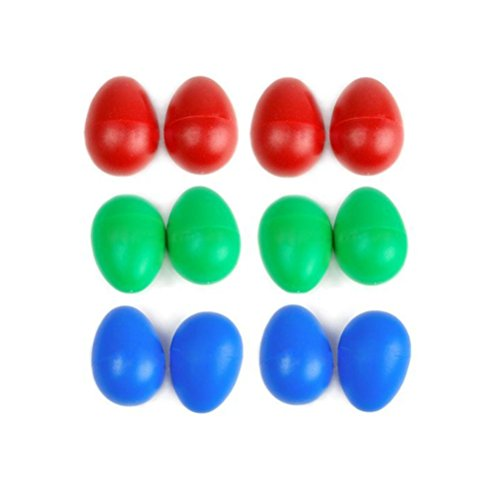Tinksky 12pcs Plastic Percussion Musical Egg Maracas Egg Shakers Child Kids Toys in 3 Different Colors (Random Color)