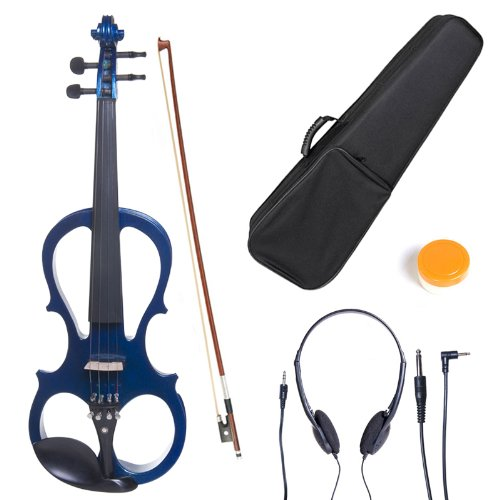 Cecilio 4/4 CEVN-1BL Solid Wood Electric/Silent Violin with Ebony Fittings in Style 1 – Full Size – Blue Metallic
