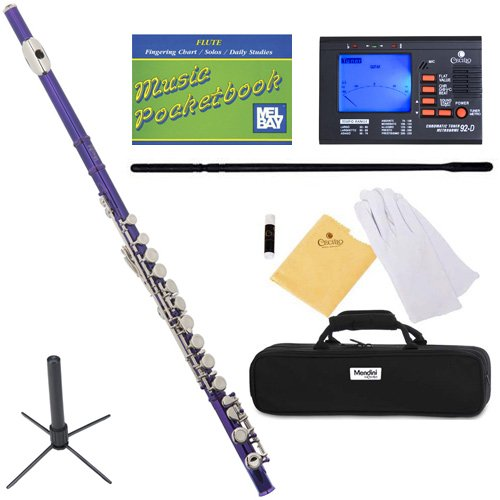 Mendini MFE-PL+SD+PB+92D Purple Lacquer Closed Hole C Flute with 1 Year Warranty, Case, Tuner, Stand, Cleaning Rod and Cloth, Grease, and Gloves