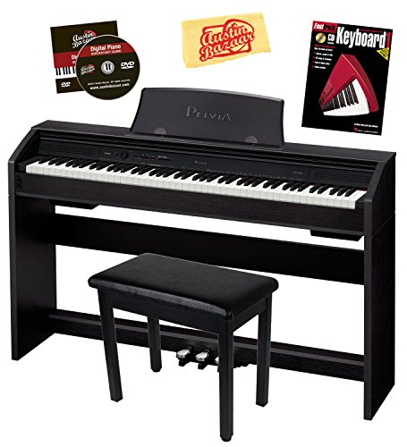 Casio Privia PX-760 88-Key Digital Piano Bundle with Gearlux Furniture-Style Bench, Instructional Book, Austin Bazaar Instructional DVD, and Polishing Cloth – Black