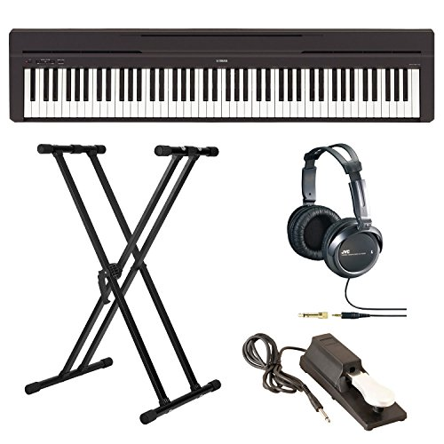 Yamaha P-45B Digital Piano with Knox Double X Stand, Sustain Pedal, and Headphones