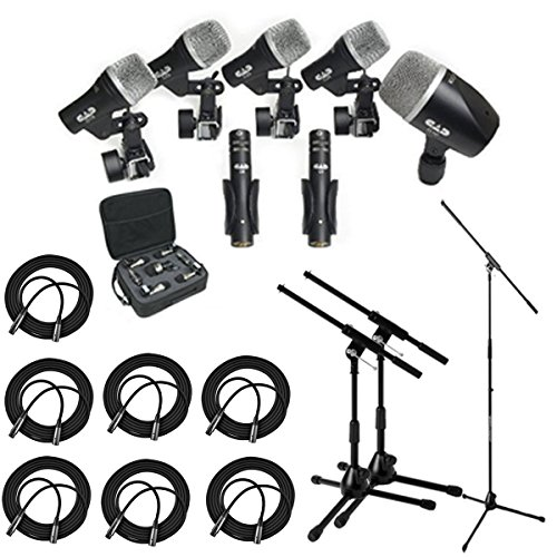 CAD Audio Stage7 Premium 7-Piece Drum Instrument Mic Pack With Vinyl Carrying Case & 7 – 25′ XLR Cables + Mic Stand & 2 Kick Stands