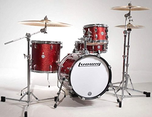 New Ludwig LC179X025 Breakbeats by Questlove 4-Piece Compact Drum Set Shell Pack, Red Sparkle