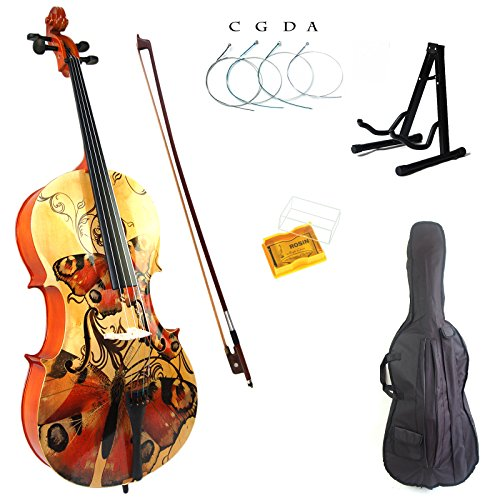 Kinglos 4/4 Colored Solid Wood Student Cello Kit with Soft Case, Stand, Bow, Rosin, Bridge and Extra set of strings Full Size (HSDT007)