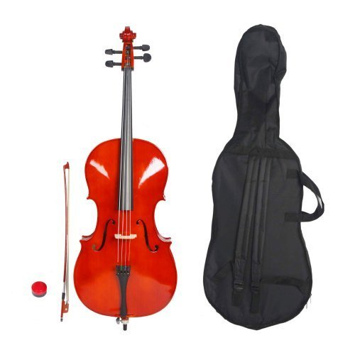OlymStore (TM)1/2 Size Acoustic Cello with Soft Case and Other Accessories Natural for Kids
