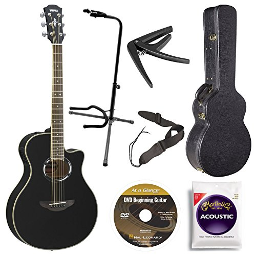 Yamaha APX500III BL Thin Line Acoustic/Electric Cutaway Guitar, Black Bundle with Case, Quick Start DVD and Accessories