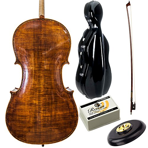 Paititi PTTCE401 Solid Wood Ebony Fitted High Flame 4/4 Cello with Durable Fiber Glass Case, Brazilwood Bow and High Quality Rosin