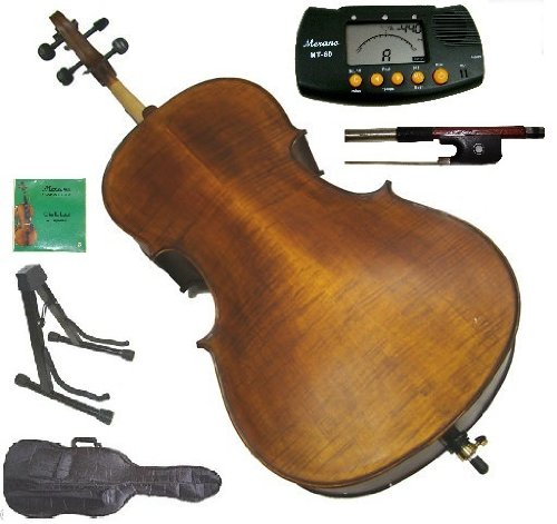 Merano 4/4 (Full) Size Hand Made Solid Wood Ebony Fitted Flamed Cello,Bag and Bow+2 Sets of Strings+Cello Stand+Metro Tuner+Rosin,