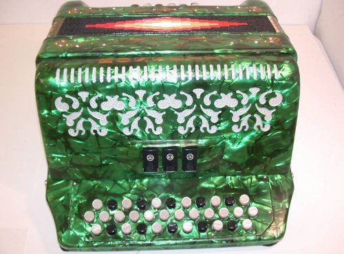Rossetti, 3412 GRN EAD, 34 Button Accordion 12 Bass 3 Switch, Key of E-A-D, Green