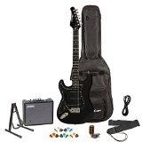 Sawtooth ST-ES-LH-BKB-KIT-3 Left Handed Electric Guitar in Black with Black Pickguard, Lesson, Gig Bag, Stand, Cable, Picks, Tuner, Strap and Amplifier