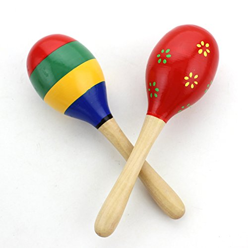 Zicome Set of 2 Kids Wooden Maracas Rattle Shakers Musical Educational Toys(Random Color and pattern)