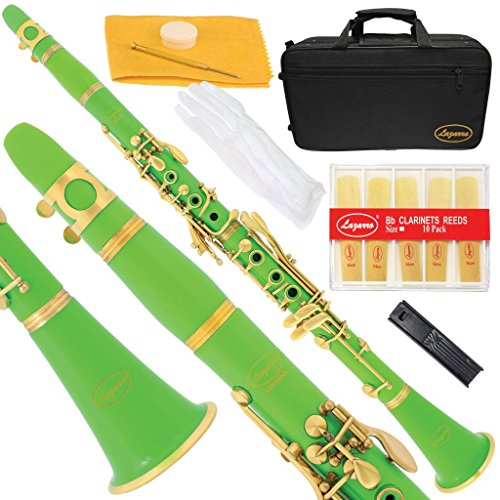 160-GR-L – GREEN/GOLD Bb B flat Clarinet Lazarro+11 Reeds,Case,Care Kit~12 COLORS Available,CLICK on LISTING to SEE All Colors