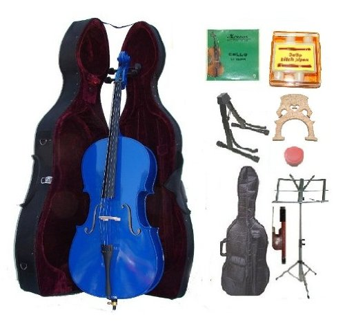 GRACE 4/4 Size BLUE Cello with Hard Case + Soft Carrying Bag+Bow+Rosin+Extra Set of Strings+Extra Bridge+Pitch Pipe+Black Cello Stand+Music Stand BY MERANO