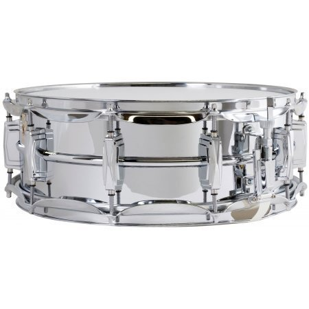 Ludwig LM400 Smooth Chrome Plated Aluminum 5 x 14 Inches Snare Drum with Imperial Lugs and Supra-Phonic Strainer