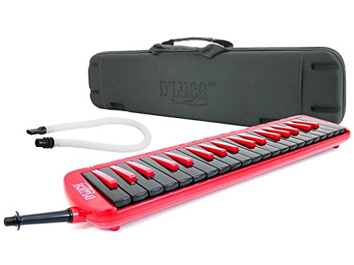 D'Luca M37-EVA-RD Red 37 Key Jungle Melodica with EVA Carrying Case