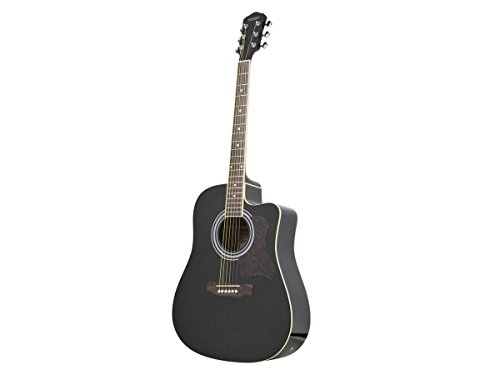 Monoprice 610051 Foothill Flat Top Acoustic/Electric Guitar with EQ – Black
