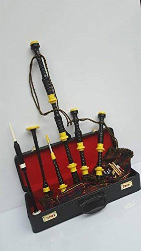 PROFESSIONAL SCOTTISH HIGHLAND BAGPIPE WITH YELLOW MOUNTS & FREE PRACTICE CHANTER