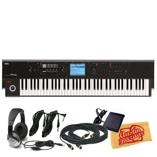 Korg M50 88-Key Synthesizer Workstation Bundle with Two 10-Foot MIDI Cables, Two 10-Foot Instrument Cables, Sustain Pedal, Headphones, and Polishing Cloth