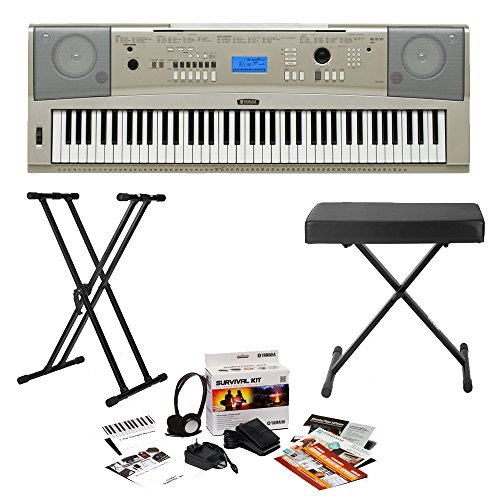 Yamaha YPG-235 76-Key Portable Grand Piano with Knox Double X Stand, Knox Bench and Yamaha Survival Kit (Includes Power Supply and 2 Year Extended Warranty)