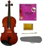 Crystalcello MV100 Full Size 4/4 Violin with Case + Bow + Accessories – Natural Color