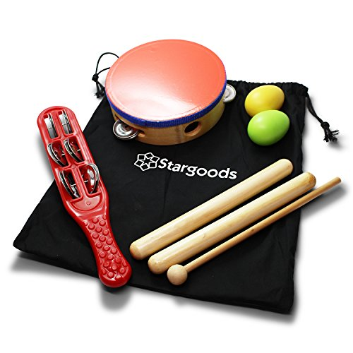 Stargoods Percussion Instruments Set (Drum, Jingle, Claves & Egg shakers)