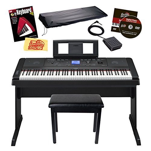 Yamaha DGX-660 88-Key Portable Grand Digital Piano Bundle Furniture-Style Bench, Dust Cover, Sustain Pedal, Instructional DVD, Instructional Book, and Polishing Cloth – Black