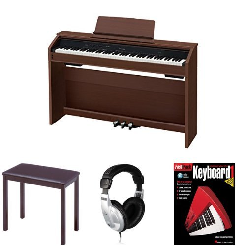 Casio PX860 Brown Privia Digital Home Piano Bundle with Casio CB7 Bench, Behringer Headphones, and FastTrack Music Instruction Book