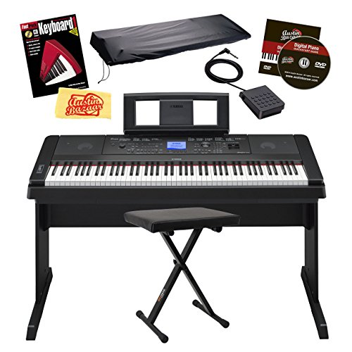 Yamaha DGX-660 Digital Piano Bundle with X-Style Bench, Dust Cover, Sustain Pedal, Instructional Book, Austin Bazaar Instructional DVD, and Polishing Cloth – Black