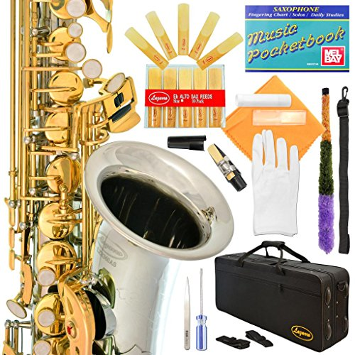 Lazarro Professional Silver Body-Gold Keys E-flat Eb Alto Saxophone Sax with 11 Reeds, Case, Music Book, Mouthpiece and Many Extras, 360-2C-L