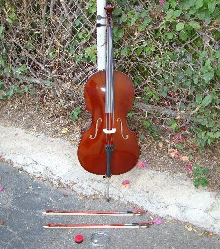 RUGERI RC100 3/4 SIZE CELLO WITH CARRYING BAG + 2 BOWS + 2 SETS OF STRINGS + ROSIN