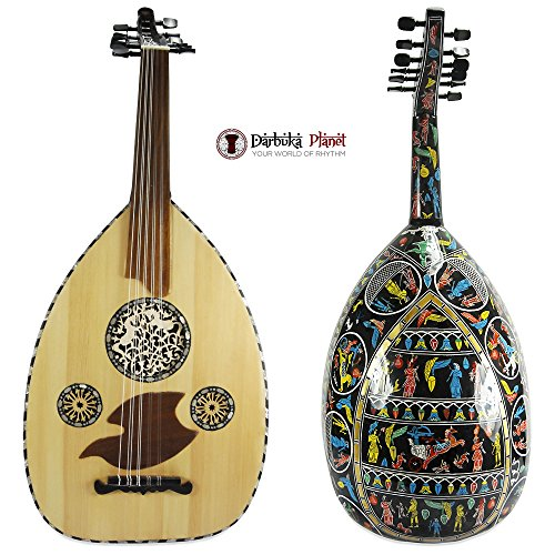 """El-masry Professional Egyptian Pearl Oud Lute """"Black Sphinx"""" Cat#M200 with Hard carry case"""