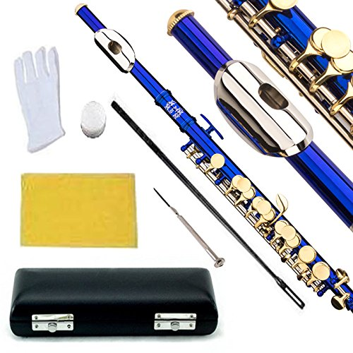 Glory Key of C Piccolo with Pro Case, Joint Grease, Cleaning Cloth and Rod, and Gloves, Blue/Gold keys ~ More COLORS Available ! CLICK on LISTING to SEE All Colors